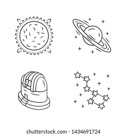 Astronomy linear icons set. Space exploration. Sun, Saturn, observatory, constellation. Astrophysics, astrology. Thin line contour symbols. Isolated vector outline illustrations. Editable stroke