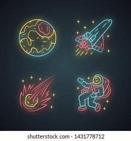 Astronomy neon light icons set. Space exploration. Earth, spaceship, comet, astronaut. Astrophysics. Galaxy research. Interstellar travel. Cosmic mission. Glowing signs. Vector isolated illustrations