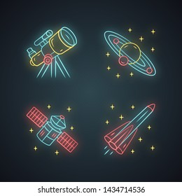 Astronomy neon light icons set. Space exploration. Telescope, Solar System, artificial satellite, rocket. Astrophysics. Space research. Cosmic mission. Glowing signs. Vector isolated illustrations