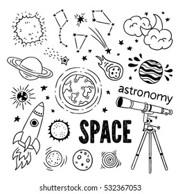 Astronomy objects vector set. Hand drawn telescope, science, planets, space ship, moon and sun, stars and constellation