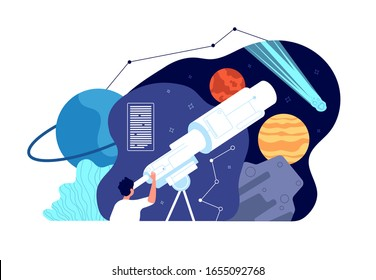Astronomy science. Galaxy explore, discover star. Male exploration universe, sputnik cosmos. Male looking planet in telescope vector concept