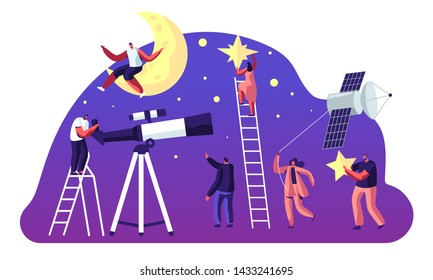 Astronomy Science, Male Female Characters Watching on Moon and Stars at Telescope, Studying Space, Cosmos Exploration , Sputnik, Scientific Investigation, Education, Cartoon Flat Vector Illustration