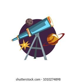 Astronomy symbols, spyglass, telescope, stars and planets cartoon vector Illustration