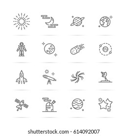astronomy vector line icons, minimal pictogram design, editable stroke for any resolution, space and universe concept