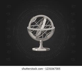 Astronomy. Zodiac sign. Horoscope. Armillary sphere. Star chart.