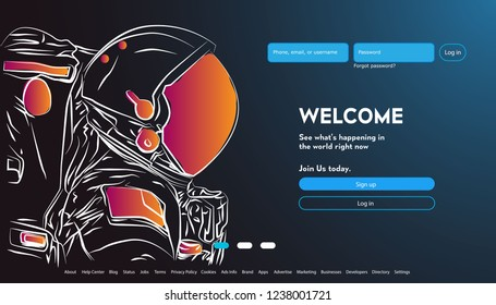 astronout background. technology space concept . User interface for Big data flow processing concept, cloud database, isometric vector, web hosting