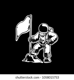 astronout in space with flag