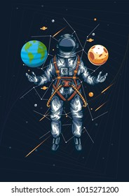 astronout world moon galaxy in your hand illustration