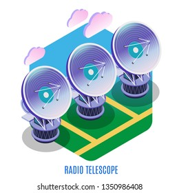Astrophysics isometric background composition with astronomical interferometer array of separate radio telescopes antennas working together vector illustration