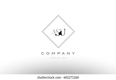 asu a s u retro vintage simple rhombus three 3 letter combination black white alphabet company logo line design vector icon template