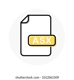 ASX file format, extension color line icon. Vector illustration