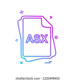 ASX file type icon design vector