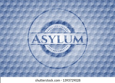 Asylum blue badge with geometric pattern. Vector Illustration. Detailed.