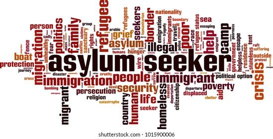 Asylum seeker crisis word cloud concept. Vector illustration