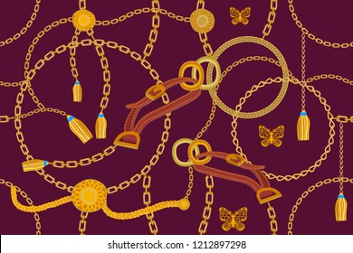 Asymetric golden print.  Seamless vector pattern with straps, chains and coins. Vintage textile collection. On purple background.