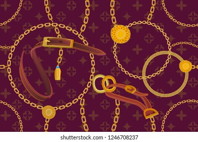 Asymmetric golden print with geometric backdrop. Seamless vector pattern with straps, chains and coins. Vintage textile collection. On purple background.