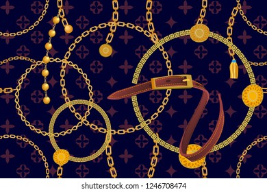 Asymmetric golden print with geometric backdrop. Seamless vector pattern with straps, chains and coins. Vintage textile collection. On black background.