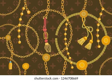 Asymmetric golden print with geometric backdrop. Seamless vector pattern with straps, chains and coins. Vintage textile collection. On brown background.