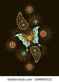Asymmetric pattern with precious turquoise butterfly and abstract jewelery colors adorned with turquoise and jasper on brown background.