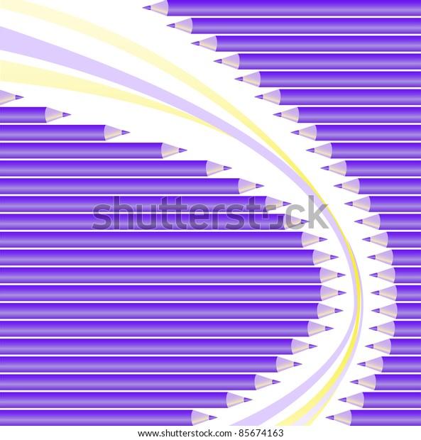 asymmetric semicircular background of purple pencils
