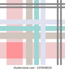 Asymmetric textile print with checkers and stripes. Trendy fabric design with English and French motifs. Seamless vector pattern with white and pink palette. Template for plaids, shirts, dresses.