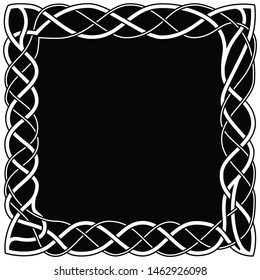 Asymmetrical Celtic white frame on a black background. Vintage style or art nouveau.