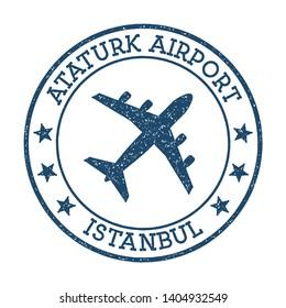 Ataturk Airport Istanbul logo. Airport stamp vector illustration. Istanbul aerodrome.