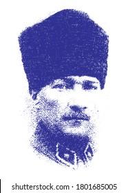 Ataturk or Atatürk, Mustafa Kemal. Minimal linear pen sketch vector illustration