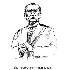 Ataturk portrait. Hand drawn sketch vector illustration on white background. Black & white.