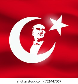 ataturk silhouette and turkish flag for the graphic design for national holiday for republic of turkey.