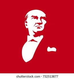 Ataturk's illustration. First president of republic of Turkey. Graphic for design elements, vector illustration