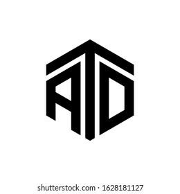ATD Letter Logo Design polygon Monogram Icon Vector Template