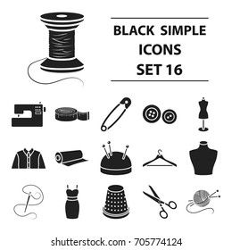 Atelie set icons in black style. Big collection atelie vector symbol stock illustration