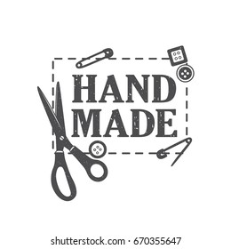 Atelier logo, hand drawn illustration. Scissors, pins, buttons and english text. Black and white emblem, background vector. Sewing studio, poster design