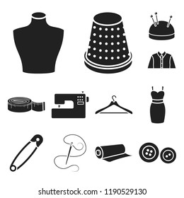 Atelier and sewing black icons in set collection for design. Equipment and tools for sewing vector symbol stock web illustration.