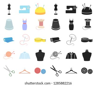 Atelier and sewing cartoon,black icons in set collection for design. Equipment and tools for sewing vector symbol stock web illustration.