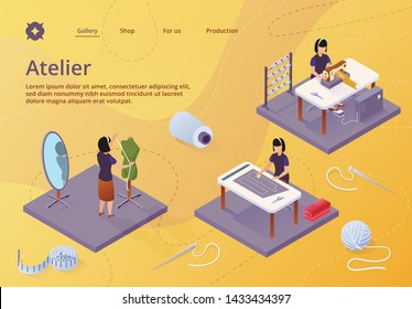 Atelier, Textile Craft Business, Dressmakers Making Out Clothes on Table, Clothing Designer Working with Mannequin. Tailor Create Outfit on Sewing Machine, Isometric 3d Vector Illustration, Banner