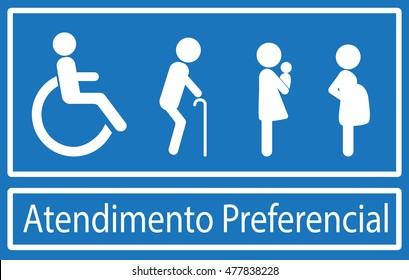 Atendimento Preferencial is priority treatment in portuguese language. Disability, elderly, pregnant and woman with baby. Vector.