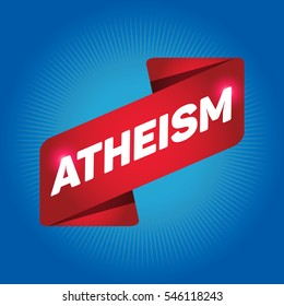 ATHEISM arrow tag sign.