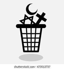 Atheism and end of religious belief - vector illustration of waste container with symbols of religions as metaphor of decline of religiosity and faith in god