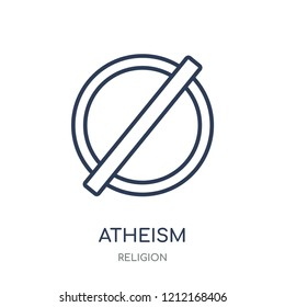 atheism icon. atheism linear symbol design from Religion collection. Simple outline element vector illustration on white background.