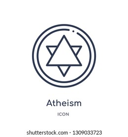 atheism icon from religion outline collection. Thin line atheism icon isolated on white background.