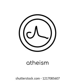 atheism icon. Trendy modern flat linear vector atheism icon on white background from thin line Religion collection, editable outline stroke vector illustration