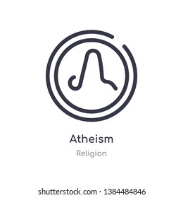 atheism outline icon. isolated line vector illustration from religion collection. editable thin stroke atheism icon on white background