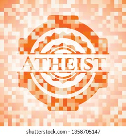 Atheist abstract emblem, orange mosaic background