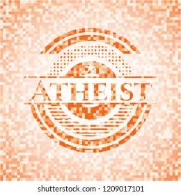 Atheist abstract orange mosaic emblem