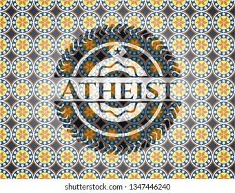 Atheist arabesque emblem background. arabic decoration.