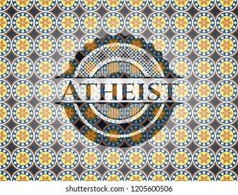 Atheist arabic style badge. Arabesque decoration.
