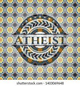 Atheist arabic style emblem. Arabesque decoration.