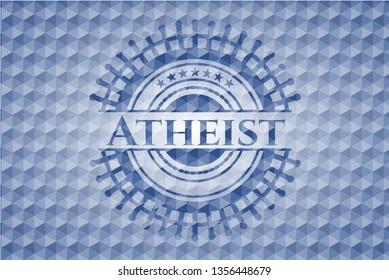 Atheist blue polygonal badge.